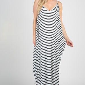 Black Striped Cami Maternity Maxi Dress